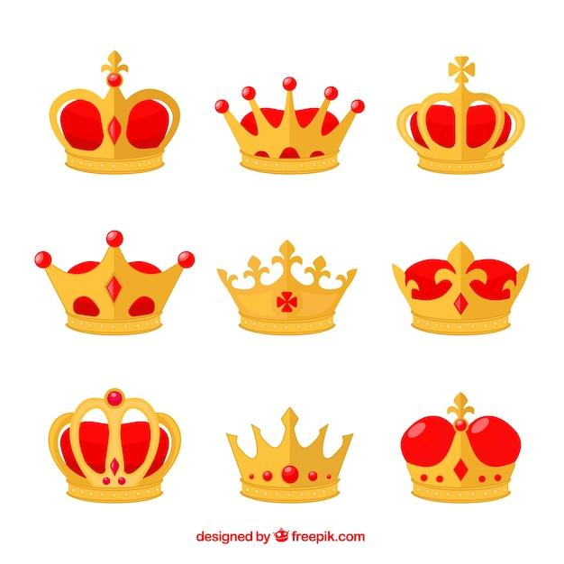 Плоская коллекция коронок с красными элементами Бесплатные векторы