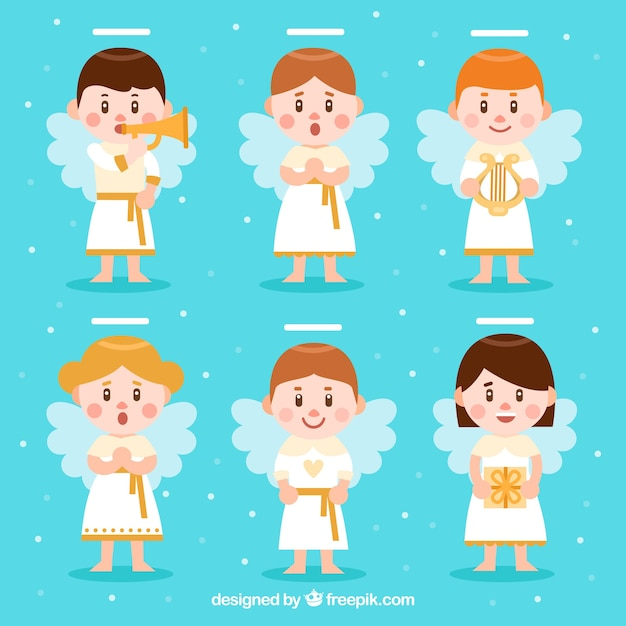 Flat collection of cute christmas angels