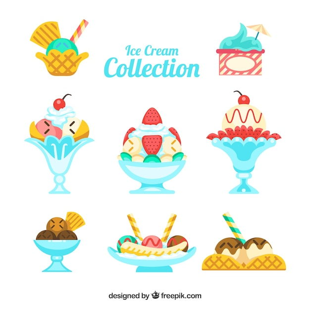 Flat collection of delicious desserts with ice\ cream