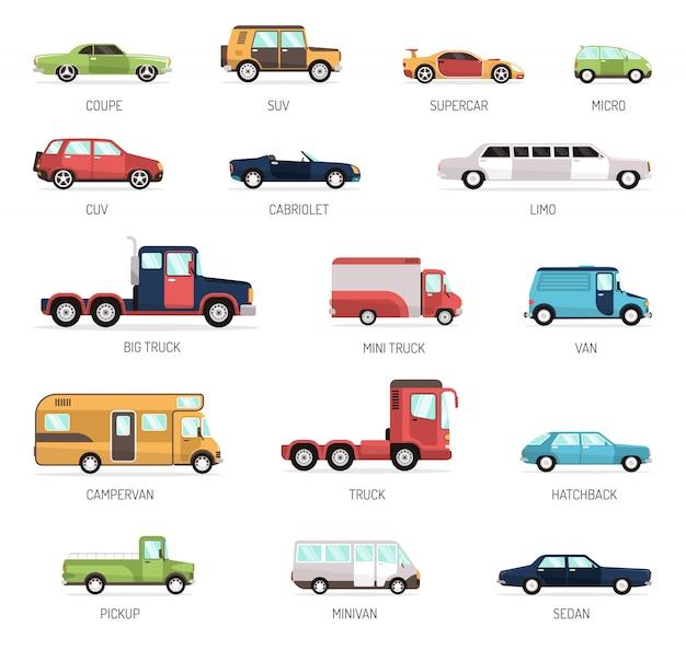 다른 자동차 모델의 평면 컬렉션 무료 벡터