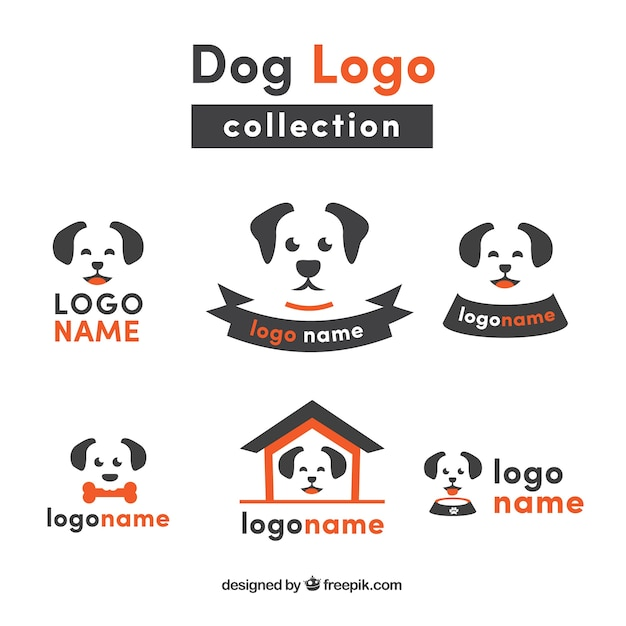 Flat collection of dog logos with orange\ details