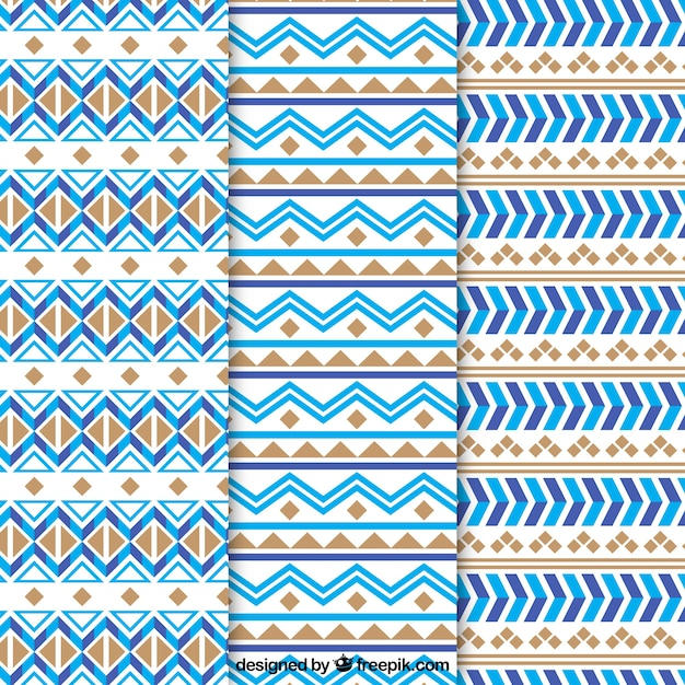Flat collection of ethnic patterns with blue and brown forms