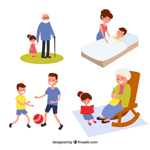 Flat collection of family doing different\ activities