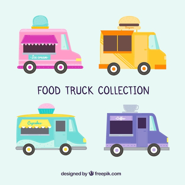 Flat collection of food trucks with modern style