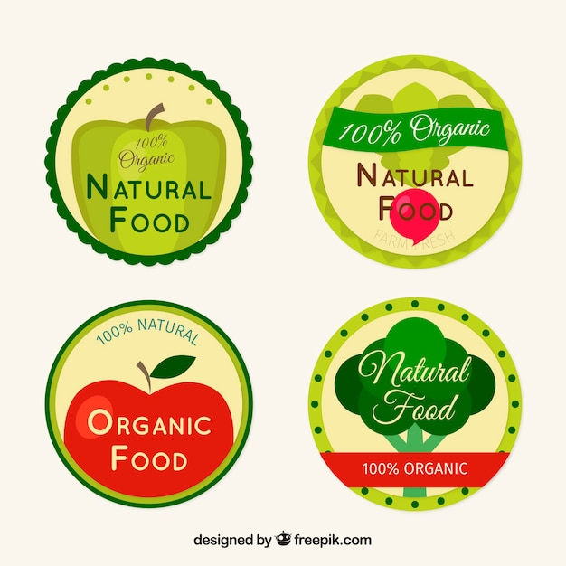 Flat collection of four colored labels with organic food