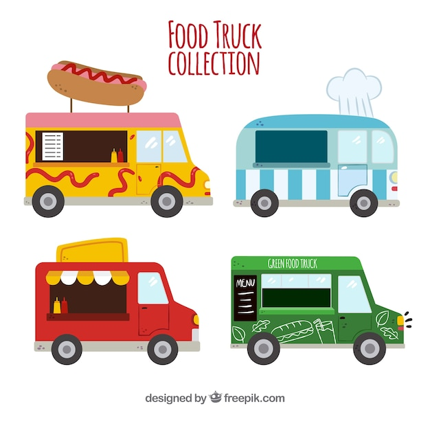 Flat collection of fun food trucks