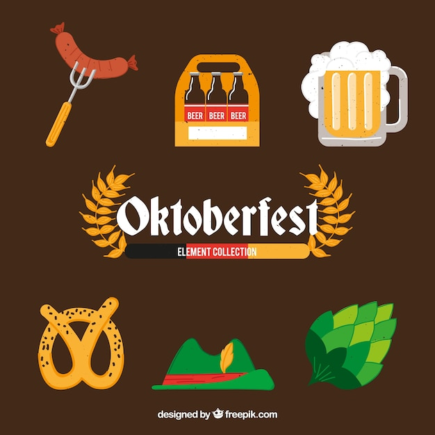 Flat collection of oktoberfest elements