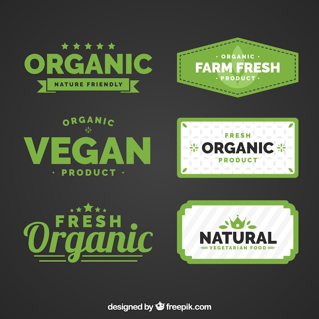 Flat collection of organic food labels
