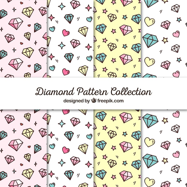 flat collection of patterns with hearts and diamonds vector free