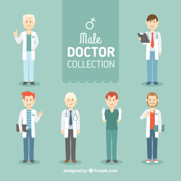 Flat collection of smiley doctors