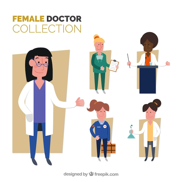 Flat collection of smiley female doctors