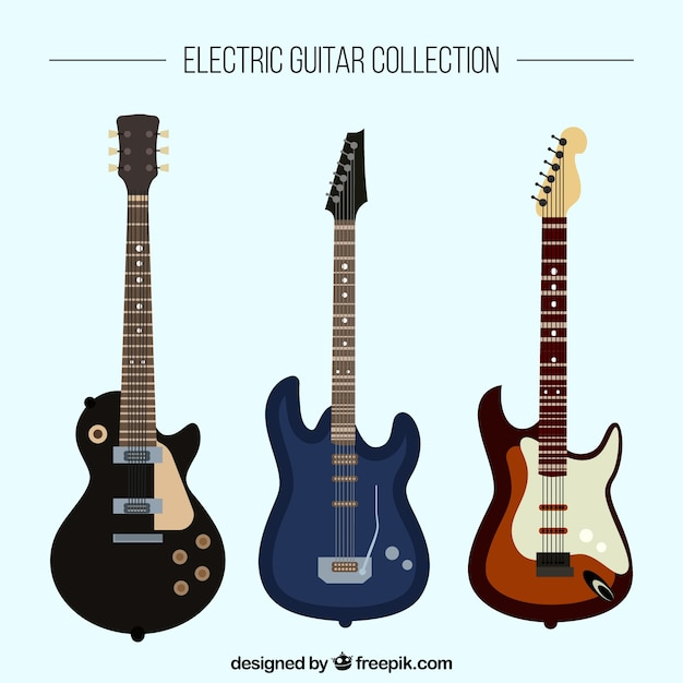 Flat collection of three electric guitars Vector | Free ...