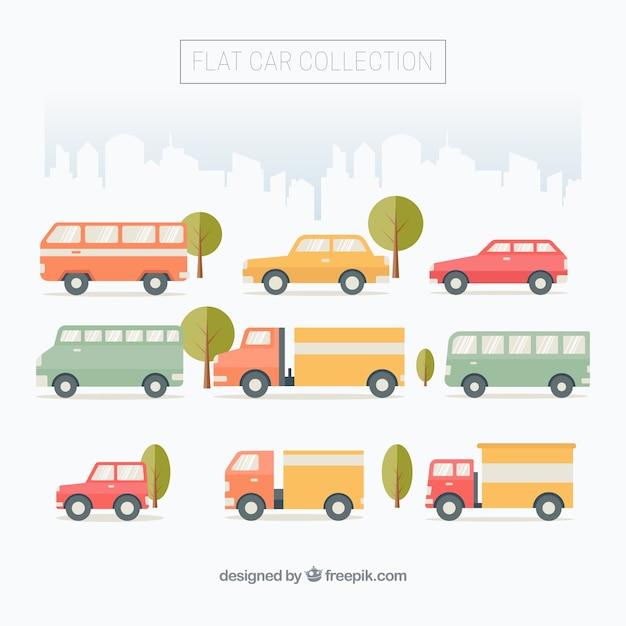 도시 차량의 평면 컬렉션 무료 벡터