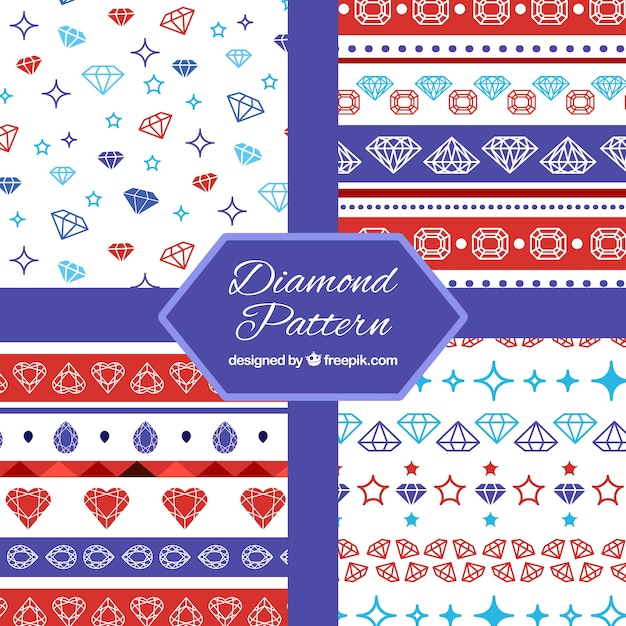 Flat collection of patterns with colored diamonds Free Vector