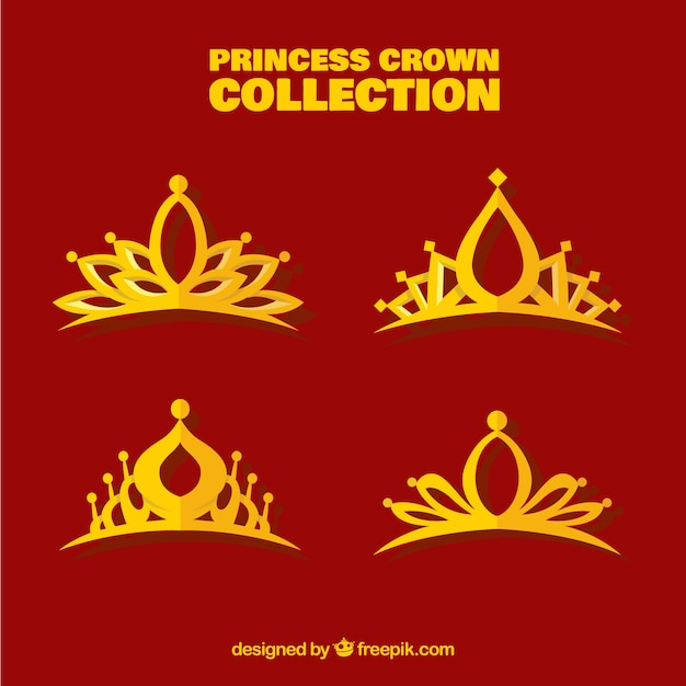 Flat collection of princess crowns Free Vector