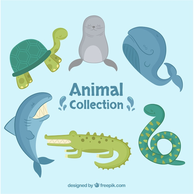 Flat collection of sea animals Free Vector