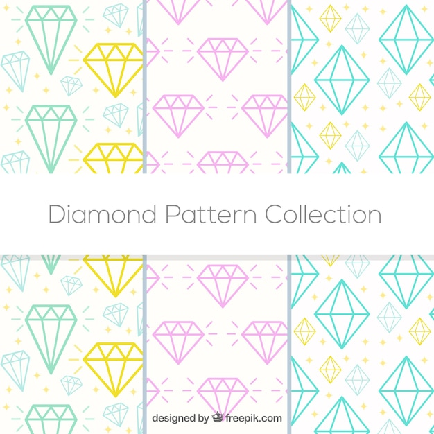 Flat collection of three diamond patterns Free Vector