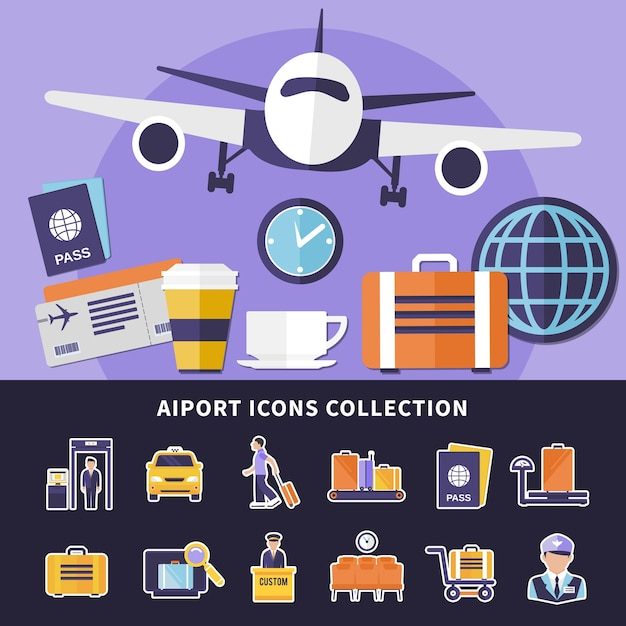 Flat collection of various airport icons isolated Free Vector