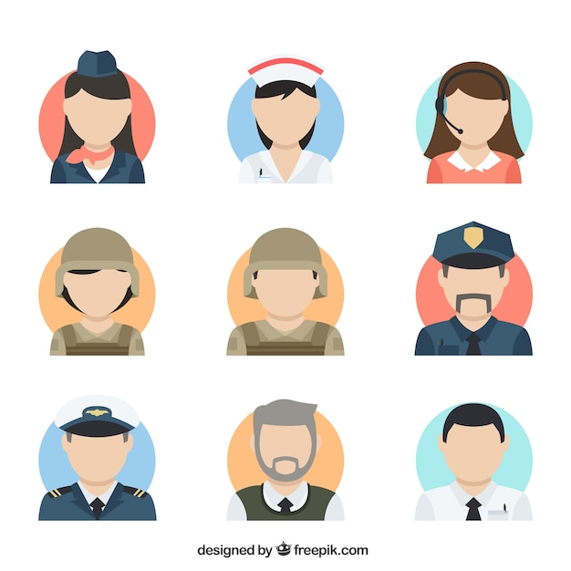 Flat colletion of professions avatars