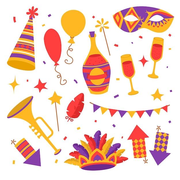 Плоские цветные карнавальные символы, маска, фейерверк, конфетти с флагами, труба и бутылка шампанского с бокалами, воздушные шары с пером Premium векторы