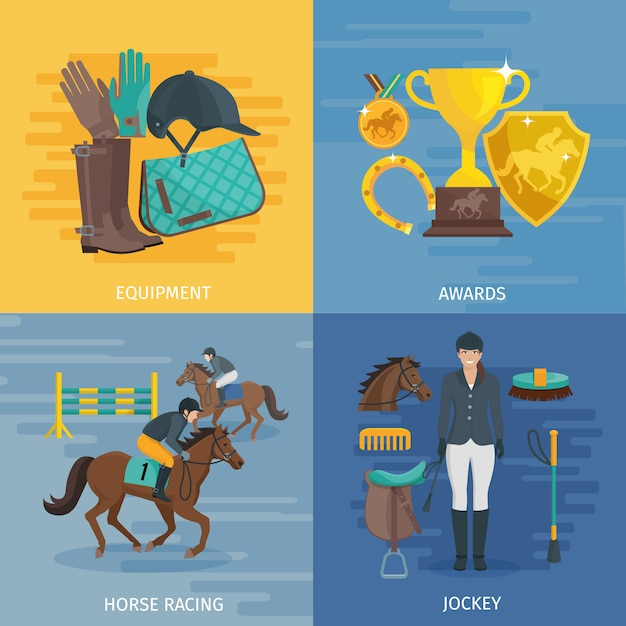 Flat color design composition depicting concept of horse racing
