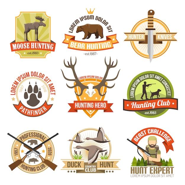 Flat color hunting emblems Free Vector