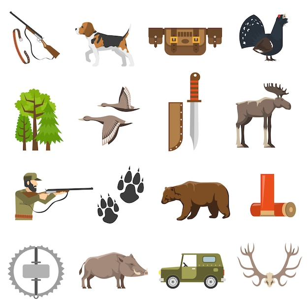 Flat color hunting icons Free Vector