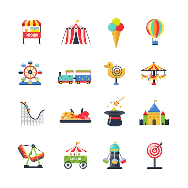 Flat color isolated amusement park icons Free Vector
