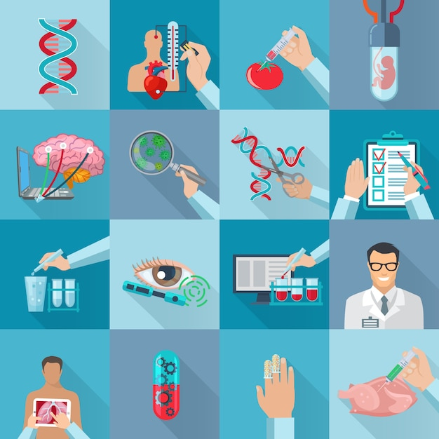 Flat color isolated biotechnology  element set with dna molecule genetically modified products and human embryo in vitro vector illustration Free Vector