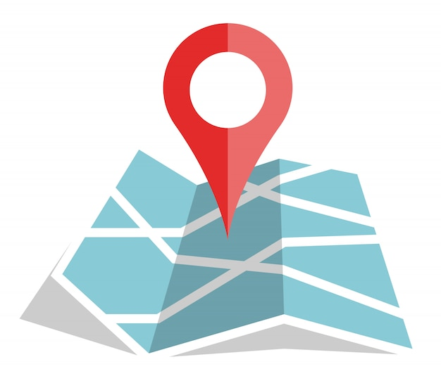 Flat color location icon on paper map Premium Vector
