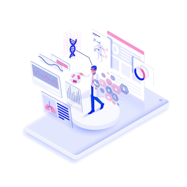 Flat color modern isometric illustration design Premium Vector