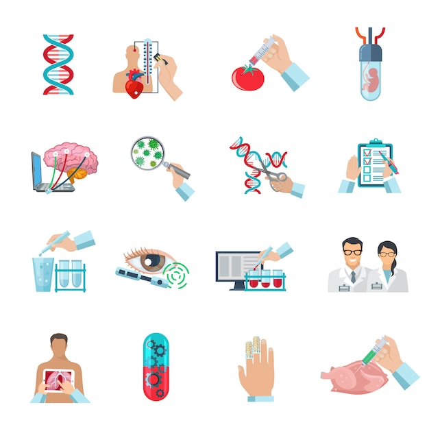 Flat color scientific icons set of biotechnology  genetic engineering and nanotechnology isolated vector illustration Free Vector