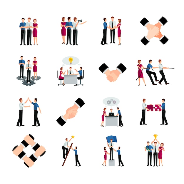 Flat color teamwork icons set Free Vector