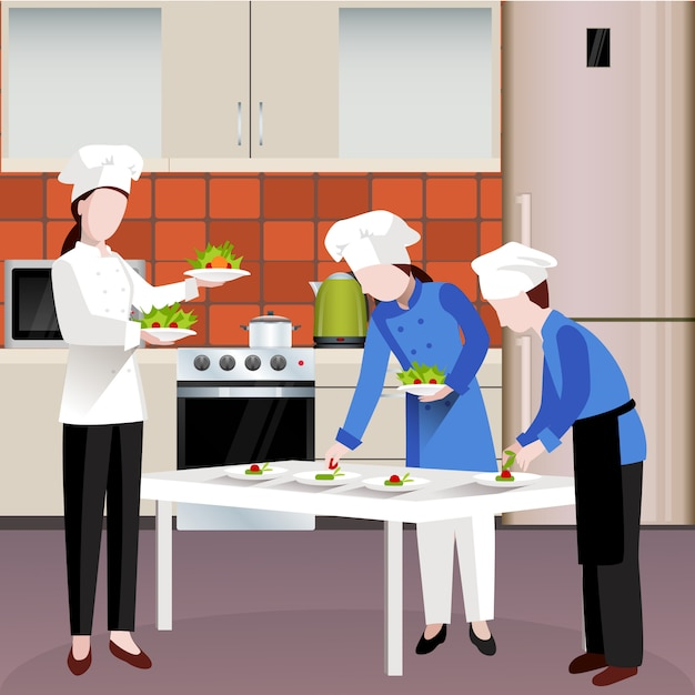 Flat colored cooking people composition Free Vector