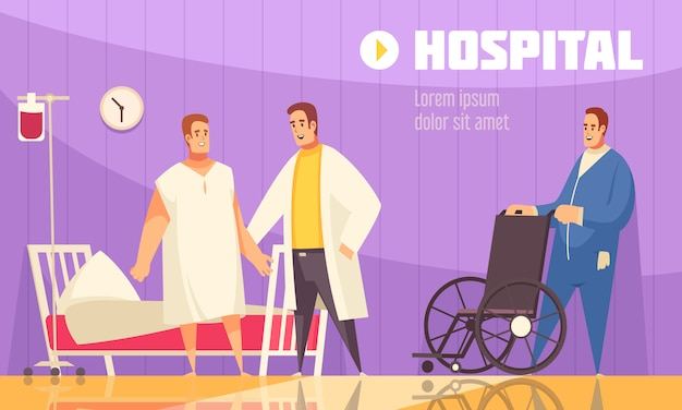 Flat and colored hospital composition with doctor and nurse helping the patient vector illustration Free Vector