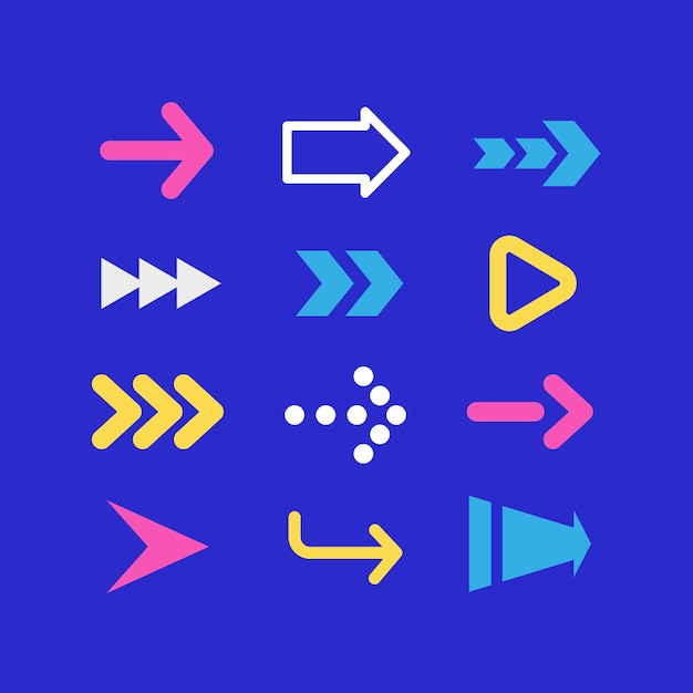 Flat colorful arrow collection Free Vector