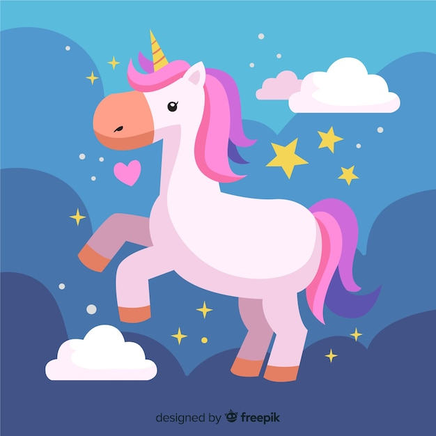 Flat colorful background with beautiful unicorn Free Vector