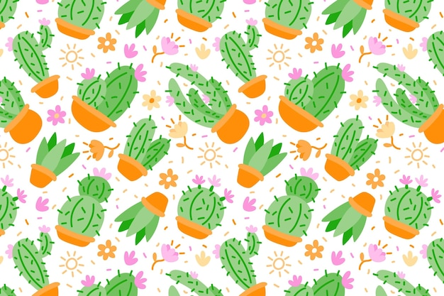 Flat colorful cactus pattern Free Vector