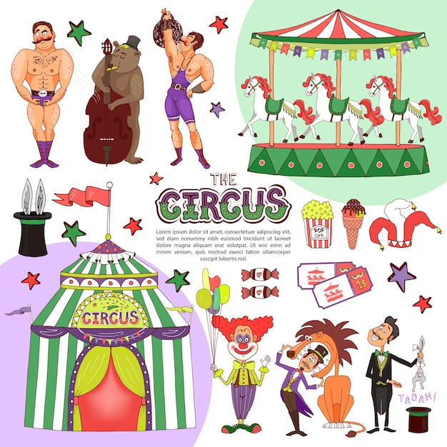 Flat colorful circus template Free Vector
