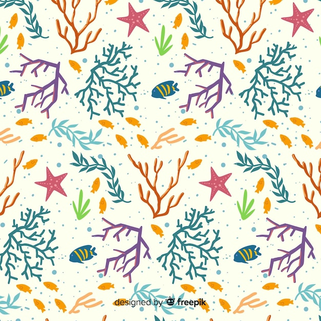 Flat colorful coral and fishes pattern pack Free Vector