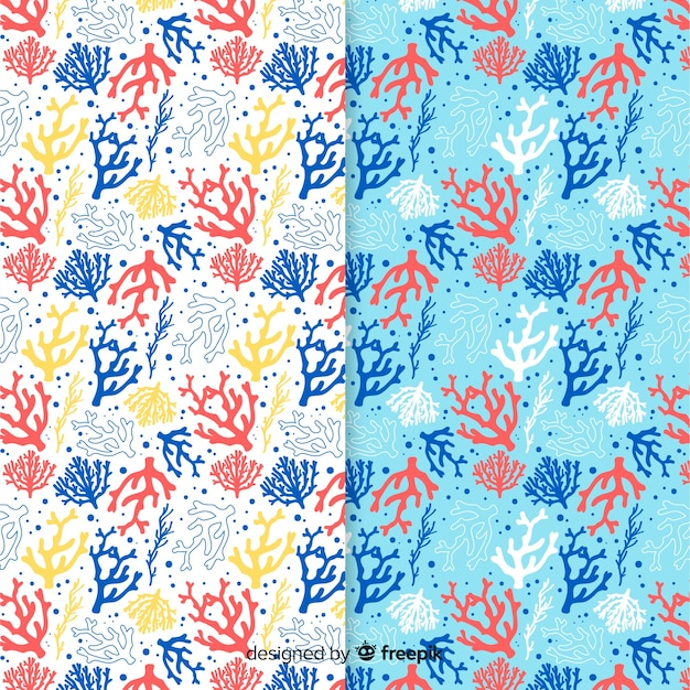 Flat colorful coral pattern pack Free Vector