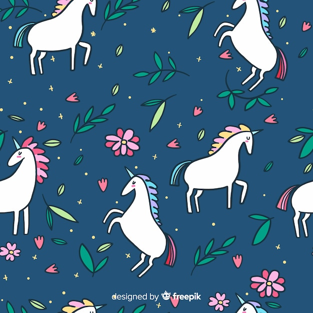 Flat colorful cute unicorn pattern Free Vector