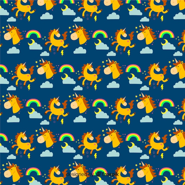 Flat colorful cute unicorn pattern Free Vector