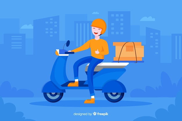 Flat colorful design delivery man for landing pages Free Vector