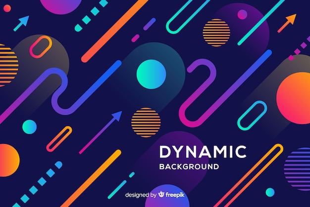 Flat colorful dynamic shapes background Free Vector