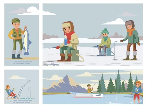 Плоская красочная композиция для рыбалки с рыбаками летом и зимой Бесплатные векторы