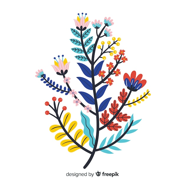 Flat colorful floral branch Free Vector