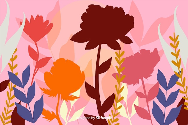 Flat colorful floral silhouette background Free Vector
