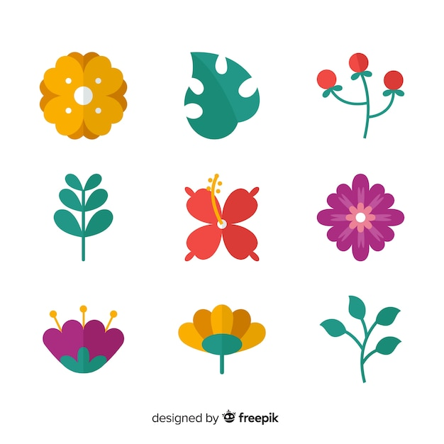 Flat colorful flowers and leaves collection Free Vector