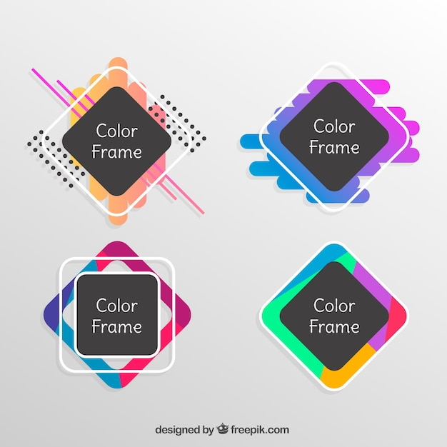 Flat colorful frame collection Free Vector